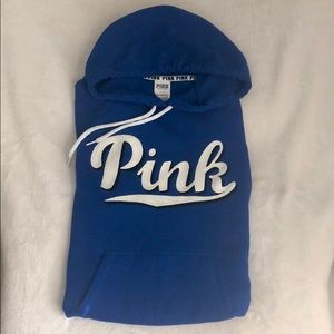 VS PINK Cobalt Blue Logo Hoodie Size Small